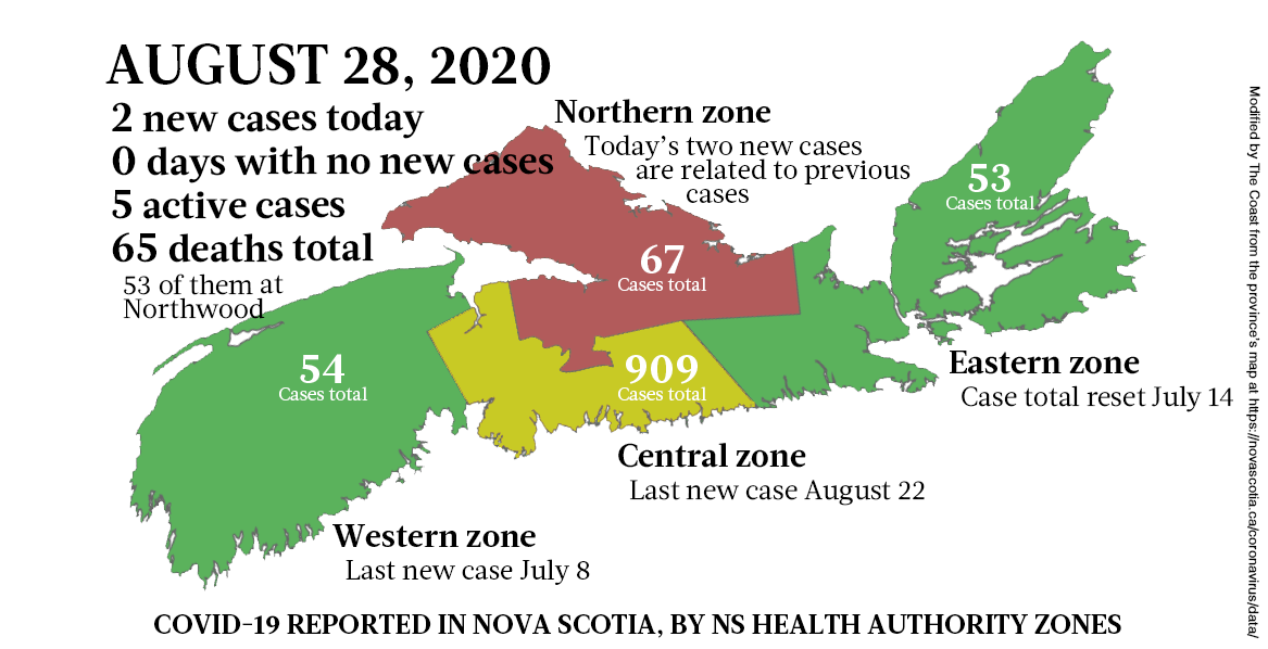 Map of COVID-19 cases reported in Nova Scotia as of August 28, 2020. - THE COAST