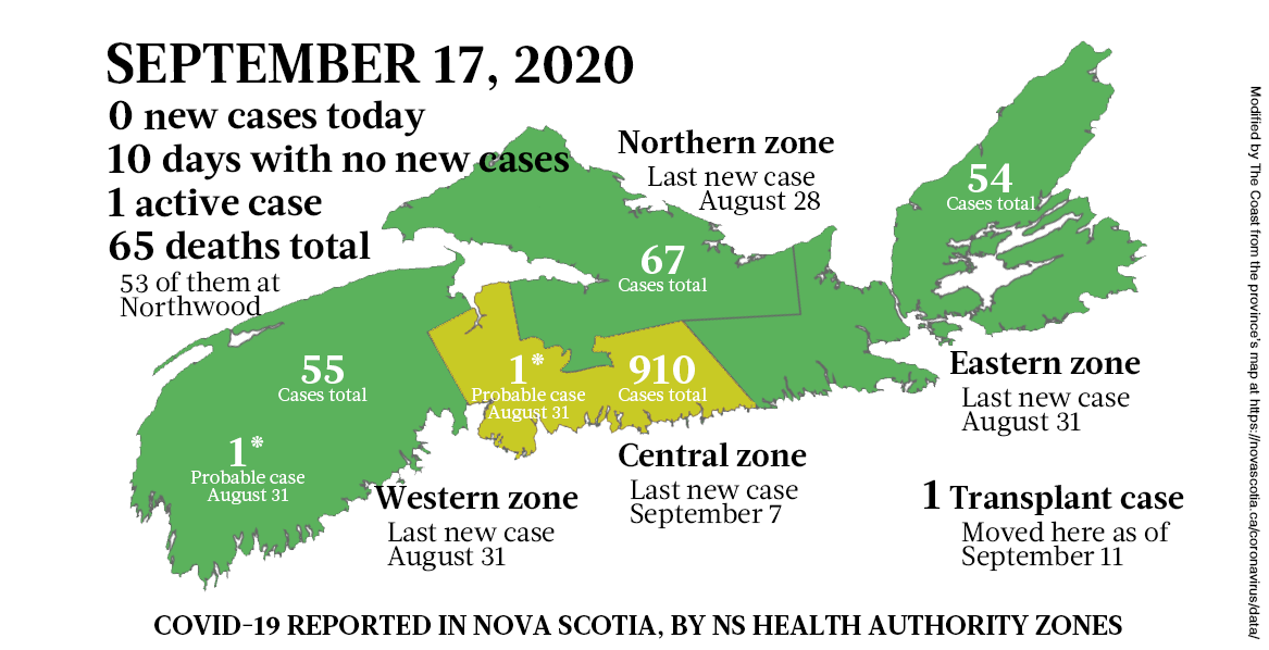 Map of COVID-19 cases reported in Nova Scotia as of September 17, 2020. The yellow-ish colour is for areas with infection(s) in the last two weeks (a C19 incubation cycle); green regions are two-plus weeks clear; red is a case today. - THE COAST