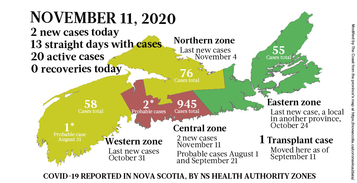 Map of COVID-19 cases reported in Nova Scotia as of November 11, 2020. Legend here. - THE COAST