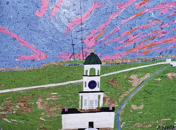 Allie Martin recreates the Halifax Clock tower with Halifax Transit transfers.  ALLIE MARTIN