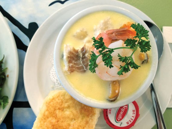 The seafood chowder features a substantial but delicate broth.