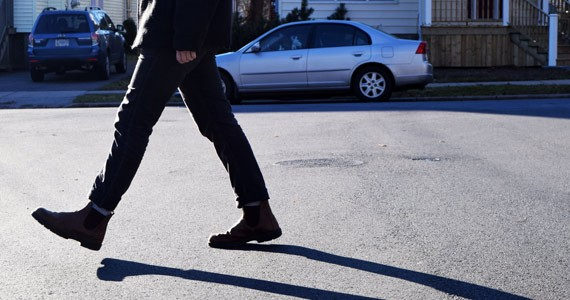 A jaywalking pedestrian hits the streets in Halifax. - EMMA JONES