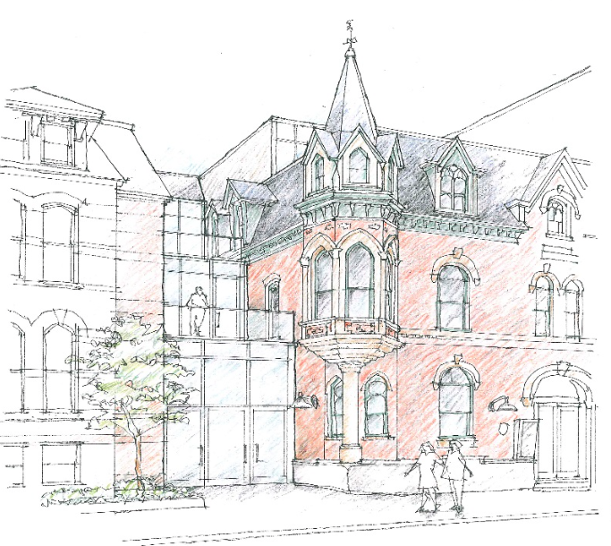 A rending of an upgraded Khyber by David F. Garrett Architects. - 1588 BARRINGTON BUILDING PRESERVATION SOCIETY