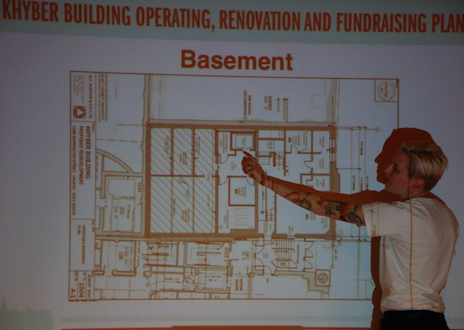 Friends of the Khyber's Emily Davidson presents some of the upgrades planned for the Khyber's basement. - THE COAST