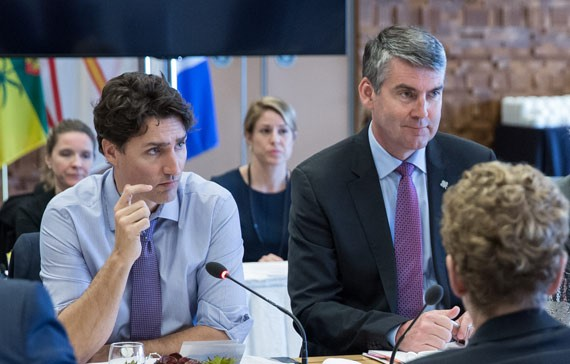Premier Stephen McNeil (centre) and Justin Trudeau earlier this month at the Prime Minister's first ministers meeting in Vancouver. - VIA ADAM SCOTTI/OFFICE OF THE PRIME MINISTER