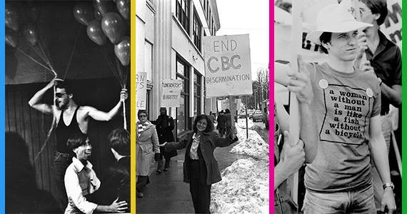 Left to right: The Night They Raided Truxx play inside The Turret; Mary Ann Mancini at the 1977 CBC protest; Robin Metcalfe in 1976. - THE COAST