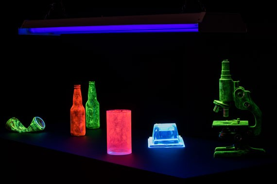 A collection created in 2015 using found objects, police grade fingerprinting powder and UV lights. - Courtesy of the artist - COURTESY OF THE ARTIST
