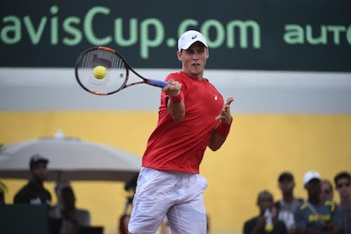 Vasek Pospisil plays for Team Canada in the Davis Cup (see 7). - VIA TENNIS CANADA