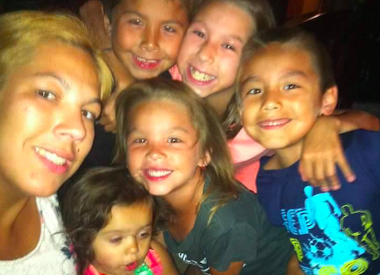 Sheena Johnson and her five kids; ages 12, eight, seven, six and three. - VIA FACEBOOK