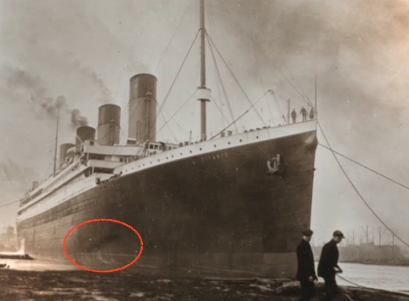 The circled dark area may be proof of an uncontrollable fire in the Titanic's coal bunkers. - SCREENSHOT FROM TITANIC: THE NEW EVIDENCE