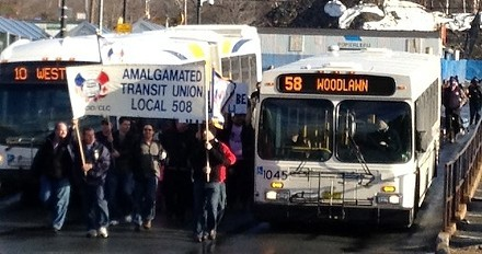 Members of the Amalgamated Transit Union protesting just before the last transit strike in 2012.