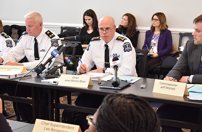 Halifax police chief Jean-Michel Blais (right) and deputy chief Bill Moore addressing the Board of Police Commissioners this past Monday. - THE COAST