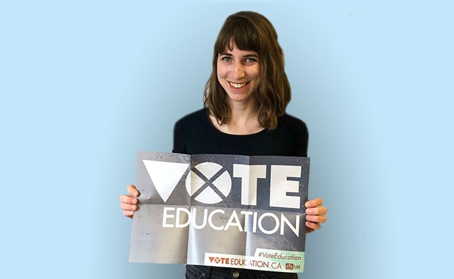 Laura Cutmore is a (paid) intern at the Canadian Federation of Students-Nova Scotia. She's also a graduate student at Dalhousie University, co-director of the Dalhousie Student Union Sustainability Office and an organizer with Divest Dal. Find out more about the #VoteEducation campaign at voteeducation.ca and get updates through @cfsns on Twitter, Facebook - and Instagram. - SUBMITTED