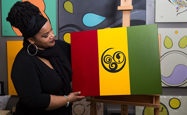 Wendy Poitras' African Nova Scotian flag represents the past, present and future. - RACHEL MCGRATH