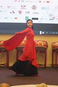 "Yilu Zheng, of the Chinese Culture and Art Club of Nova Scotia, performs the classical Chinese dance ""The Nation of Greatness and Courtesy."""