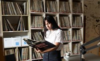Looking through CKDU's extensive record collection.