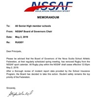 The NSSAF memo cancelling rugby in Nova Scotia high schools.