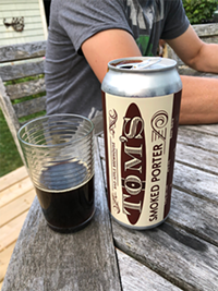 Tom's Smoked Porter from Bad Apple Brewhouse: Dark like a long shot of espresso.