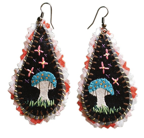 WA'OU FACTOR - Wa'ou hand-embroidered earrings with skulls, swans, strawberries, Russian dolls and teapots, $25, Halifax Farmers' Market and Spring Garden Road (outside the Public Gardens).