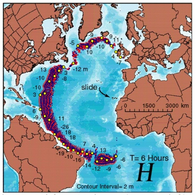 Ward and Day calculated the size of the tsunamis rushing across the Atlantic Ocean.
