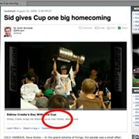 Sidney Crosby gets misplaced by ESPN