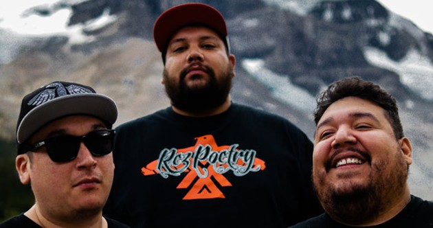 """""""We're trying to get people to catch up,"""" says A Tribe Called Red's DJ NDN, left. - BRUDDER FALLING TREE"""