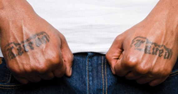 Wright has his sons' names tattooed on his hands. - PHOTO BY AARON MCKENZIE FRASER