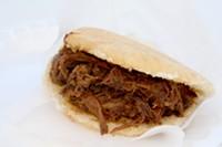HEATHER HOCH - A carne mechada or shredded beef arepa