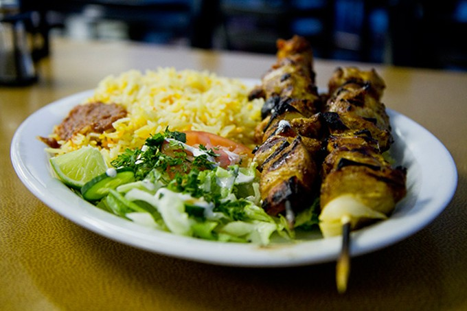 Chicken shish kabob at Nur Market and Restaurant.
