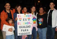 MARI HERRERAS - Chris Lopez, third from the right, marched with her family on Nov. 14 to show Hispanic support of LGBT civil rights.