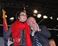 JIM NINTZEL - Congresswoman Gabrielle Giffords made her first major public appearance alongside her husband, retired astronaut Mark Kelly, on Sunday, Jan. 8—one year after she was shot.