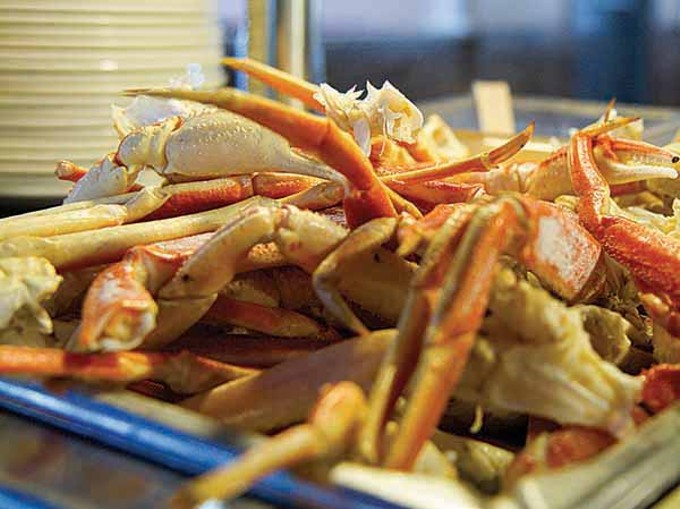 Crab legs at Panda Buffet and Sushi.