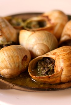 Escargot is an appropriately French way to start a Café Francais meal.