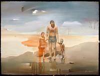 JAN OLLSON - Family at the Beach, 2014 acrylic on paper