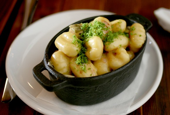 Gnocchi with cheese and poblanos at Ermanos. - HEATHER HOCH