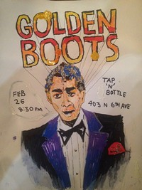 "PINTING BY DIMITRI MANOS - Golden Boots are Dean Martin fans, yet sound nothing like the ""King Of Cool"""