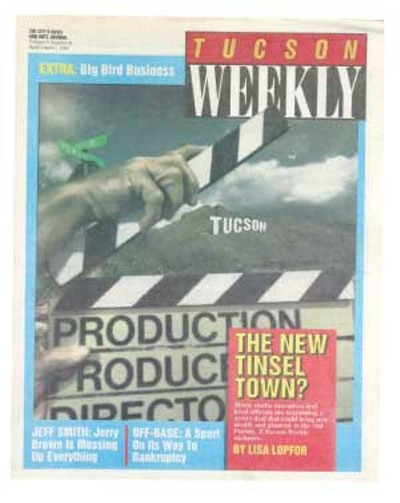 Our first April Fool's prank! The Weekly uncovers a hush-hush deal for Hollywood studios to move to Tucson: Local contractors are expected to engage in fierce bidding over the contracts to build studios and exotic sets for the first wave of films. Perhaps the biggest prize will be the contract for director Oliver Stone's Tiananmen Square, which will require the building of an exact duplicate of downtown Beijing. ... Additional sets include the surface of the planet Mercury, the city of Los Angeles in the 27th century, giant ice rinks and a functional volcano. Tracts of desert land would be converted to tropical rainforest, and riparian areas to the northeast would be landscaped to reproduce a Sahara-like setting.  -- April 1, 1992