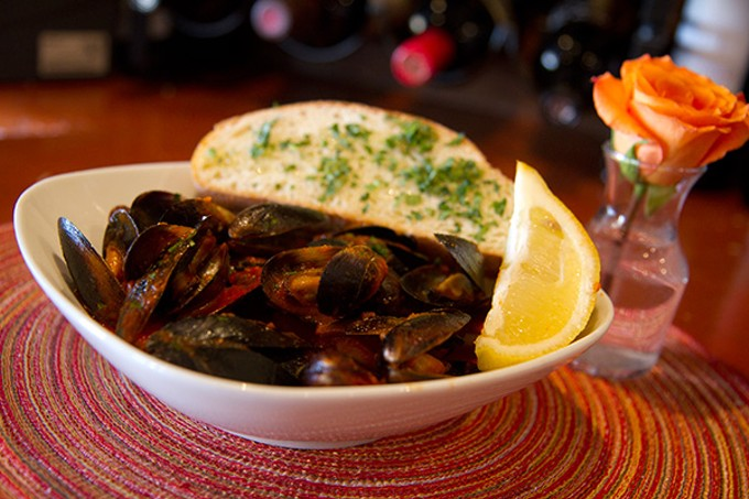 Steamed mussels in pomodoro sauce at Caffe Torino.