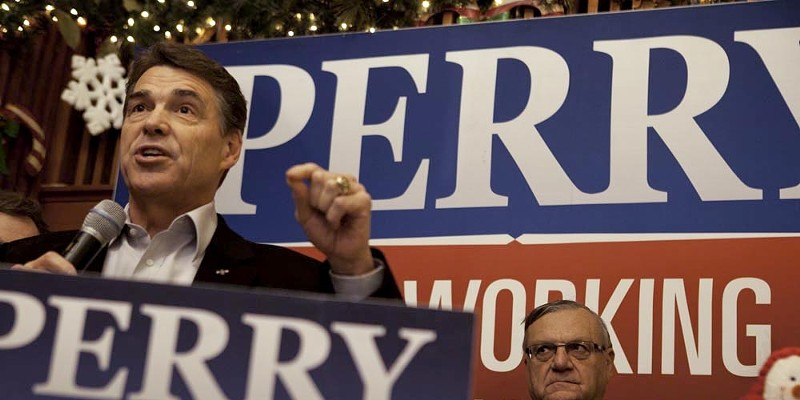 Rick Perry and Joe Arpaio in Iowa, Dec. 27, 2012 Texas Governor Rick Perry appears with Arizona's Maricopa County Sheriff Joe Arpaio at the Main Street Cafe in Council Bluffs, Iowa on Tuesday, December 27, 2011. Samantha Sais
