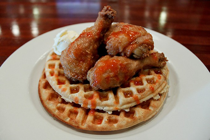 The chicken-and-waffles plate at Mays Counter Chicken and Waffles
