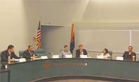 JIM NINTZEL - The Democrats, left to right: Eric Bustamante, Ephraim Cruz, Matt Heinz, Daniel Patterson, Patricia Puig and Tom Prezelski.