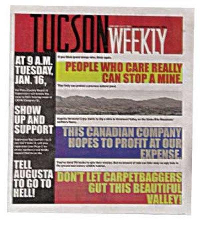 The Weekly calls on readers to speak out against the proposed Rosemont Mine. -- Jan. 11, 2007