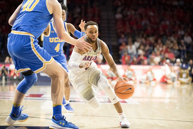 Senior Parker Jackson-Cartwright had 10 points and four assists in Arizona's 82-74 loss to the Bruins of UCLA on Thursday. - MONICA MILBERG | ARIZONA ATHLETICS