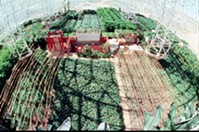 Fish-eye lens photo of the Biosphere 2 farm. - COURTESY PHOTO
