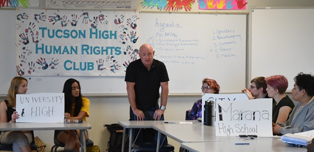 "Mark Kelly talks to students at Tucson High, during a press conference about March for Our Lives: ""The people we elect to office, they're gonna care about you showing up here and marching in the streets of Tucson...but what they're gonna care about as much is what all of you do on the day after this march, the week after this march, the month after."" - DANYELLE KHMARA"