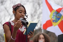 """Tucson High freshman J'Hrenara Rios, reading her poem """"Lovely Ocean of Bullets,"""" drawing attention to gun violence that goes beyond mass shootings: """"These innocent people have been used as target practice for far too long. Human beings are being slaughtered and mass murdered by guns and police brutality as much as a deer to a hunter, no longer even being seen as a living, breathing being. The evidence is clearly there, but unfortunately, it's constantly shoved to the side to make space for distortion and short stories, making the victims seen as guilty and the shooters innocent."""" - DANYELLE KHMARA"""