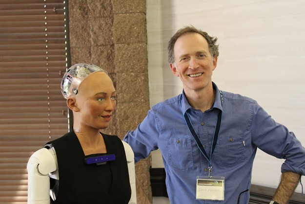 Sophia the robot and Gavin Farrell of Hanson Robotics