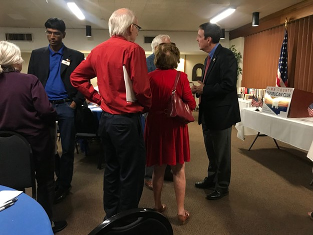 Gubernatorial candidate Ken Bennett (right) speaks with audience members after an event hosted by the Pima County Republican Club. - KATHLEEN B. KUNZ