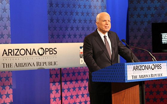 Sen. John McCain debates Ann Kirkpatrick, his Democratic opponent, in the 2016 Senate race. - CRONKITE NEWS