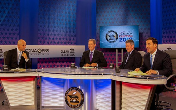 From left to right: Democrat David Garcia, debate moderator Ted Simons of Arizona PBS, Green Party candidate Angel Torres and incumbent Republican Doug Ducey. - LAUREN INTRIERI/CRONKITE NEWS